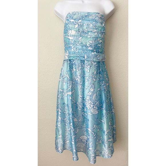 Lilly Pulitzer blue white strapless fit and flare waist tie dress